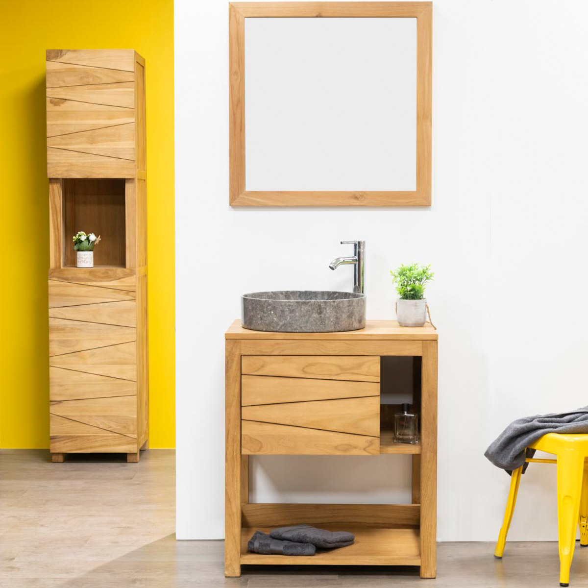 Meuble sous vasque simple vasque en bois teck massif cosy rectangle naturel l 67 cm - Meuble salle de bain en promo ...