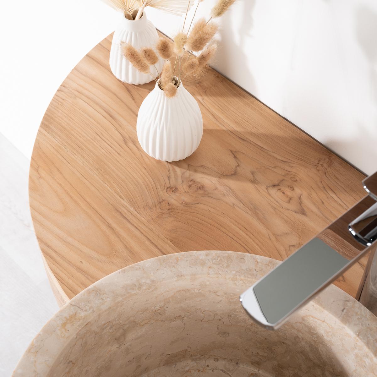 Meuble sous vasque (simple vasque) en bois (teck) massif + vasque en marbre Florence, naturel  # Meuble Sous Vasque Bois Naturel
