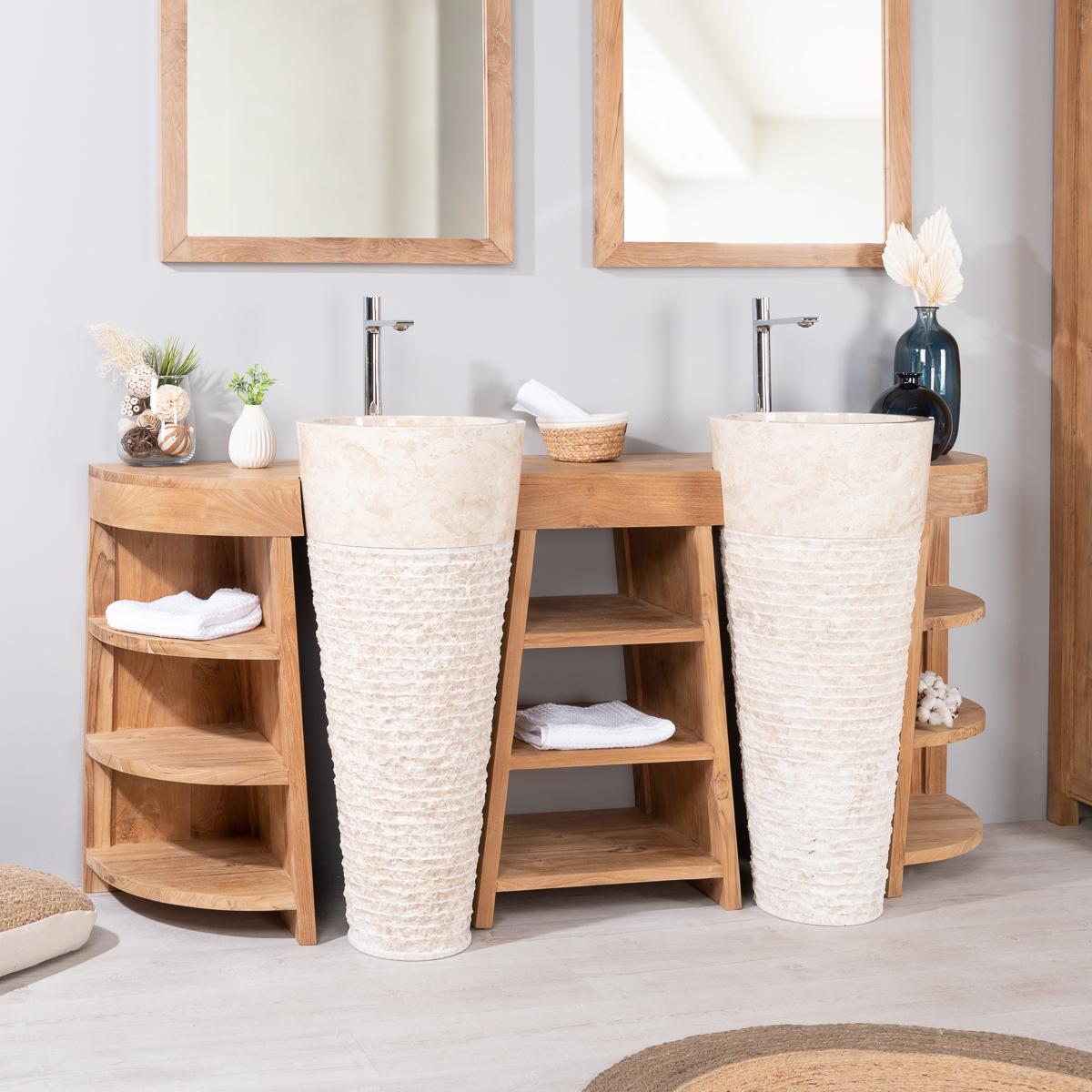 meuble sous vasque double vasque en bois teck massif vasques marbre florence naturel. Black Bedroom Furniture Sets. Home Design Ideas