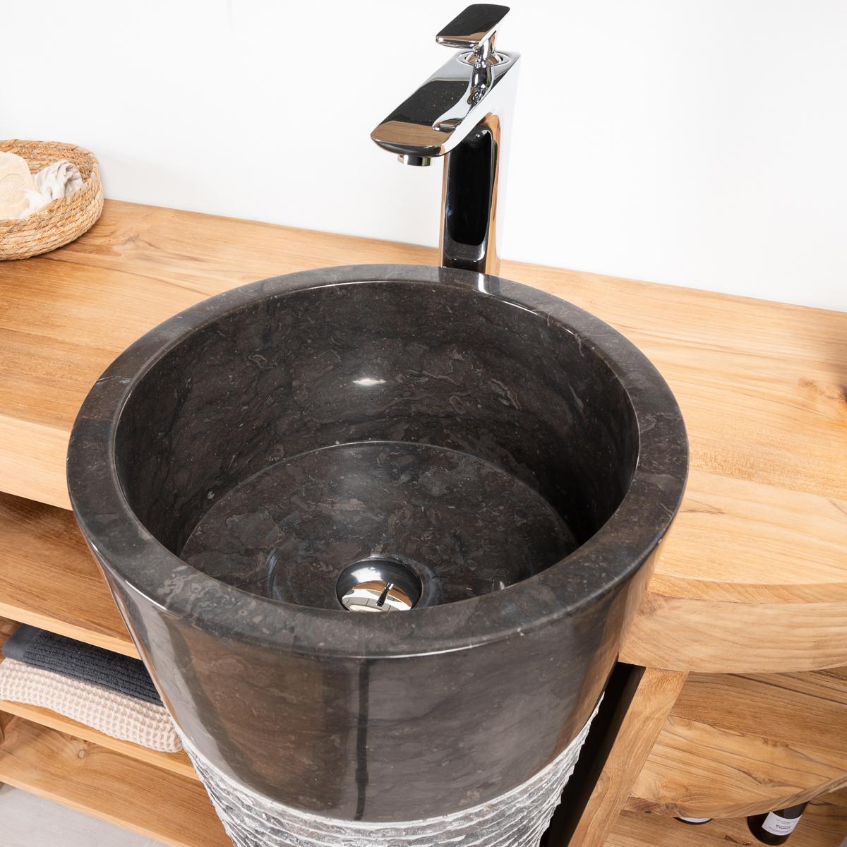 Meuble sous vasque (double vasque) en bois (teck) massif + vasques ...