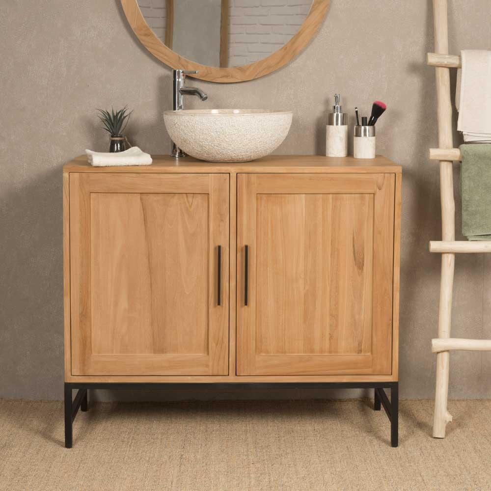 Meuble de salle de bain en teck pablo 100 cm - Meuble de salle de bain en 100 cm ...