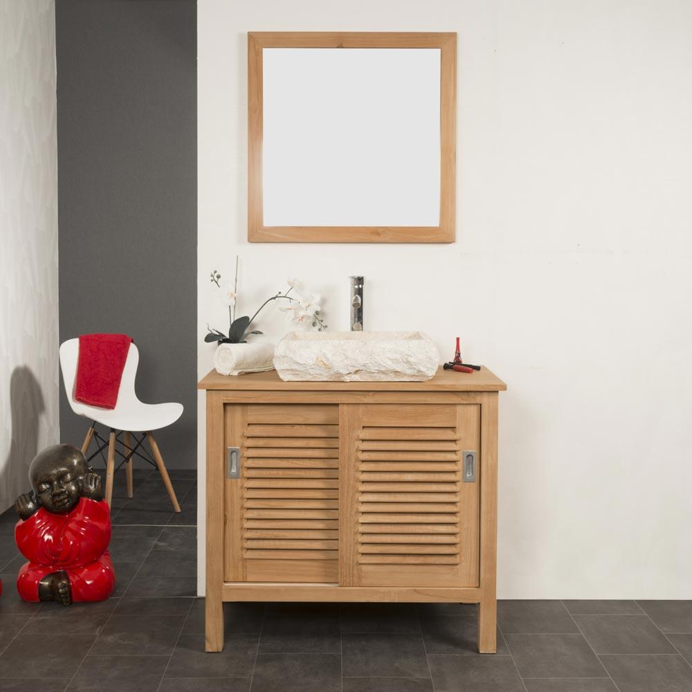 Meuble salle de bain meuble sous vasque teck tempo 90 cm for Meuble salle de bain 90