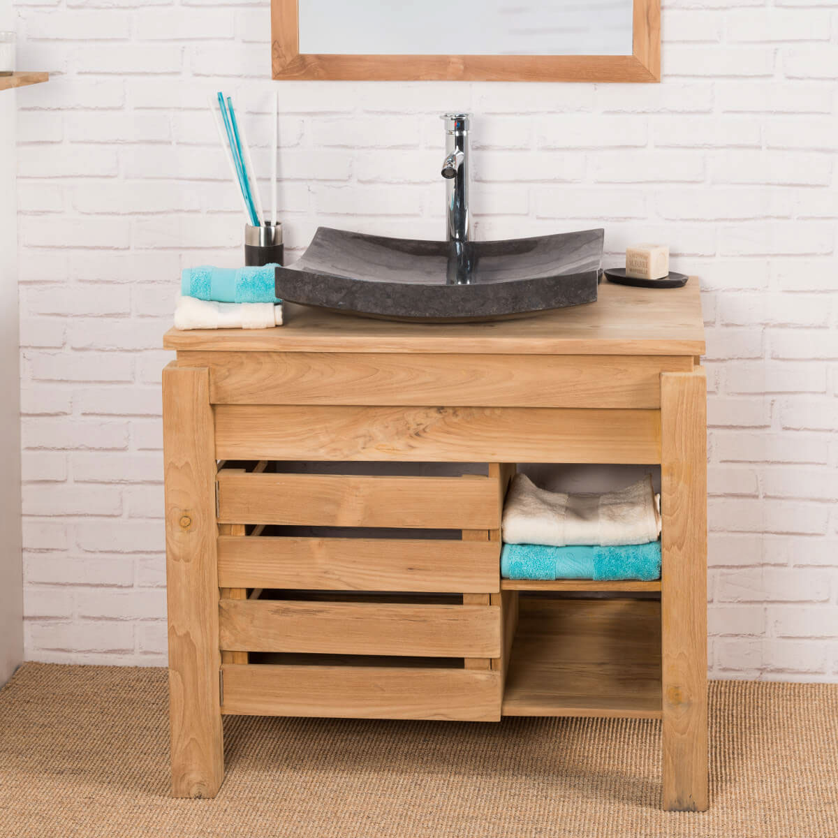 Meuble sous vasque simple vasque en bois teck massif zen rectangle naturel l 85 cm - Salle de bain rustique contemporain ...