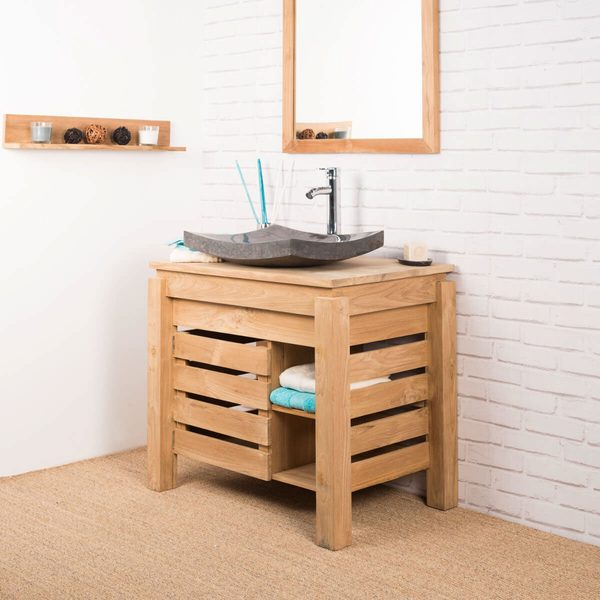 Meuble sous vasque simple vasque en bois teck massif zen rectangle naturel l 85 cm - Meuble salle de bain coin ...