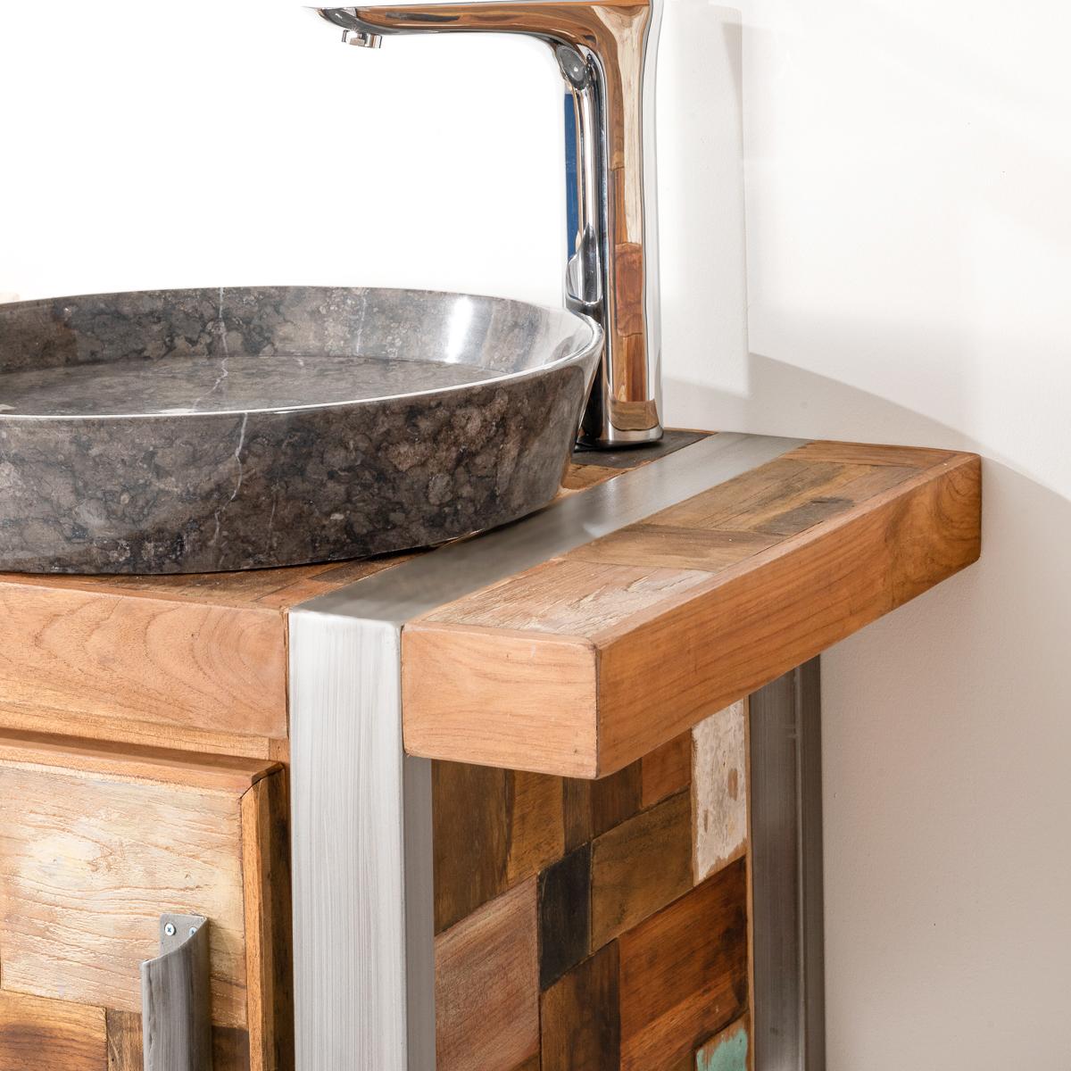 Meuble de salle de bain factory teck m tal 70 cm - Meuble 70 cm de large ...