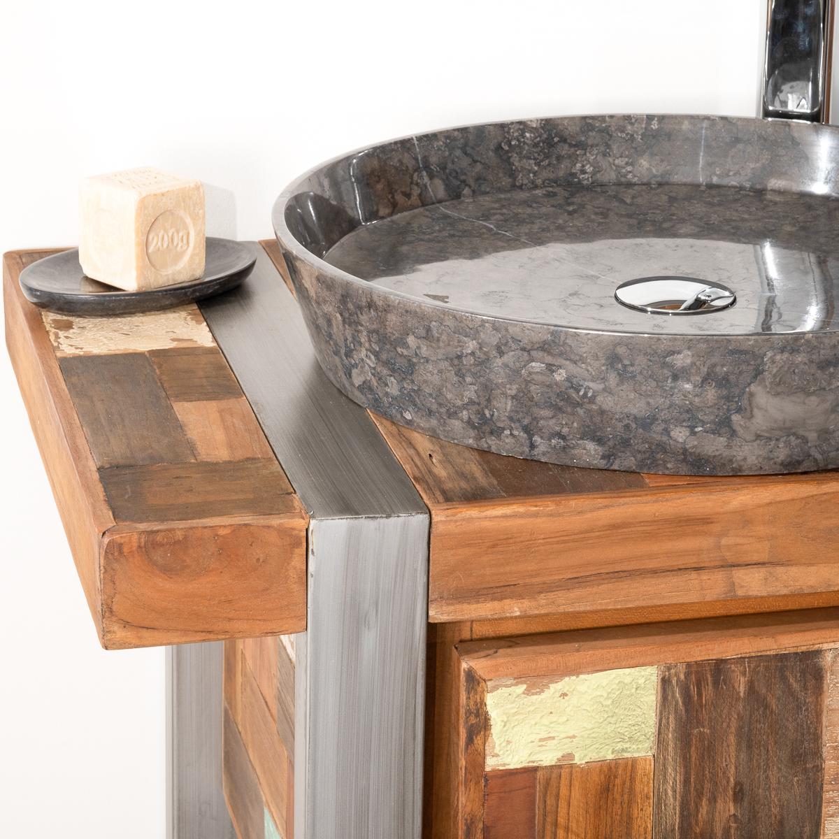 Meuble sous vasque simple vasque en bois teck massif for Bois pour meuble
