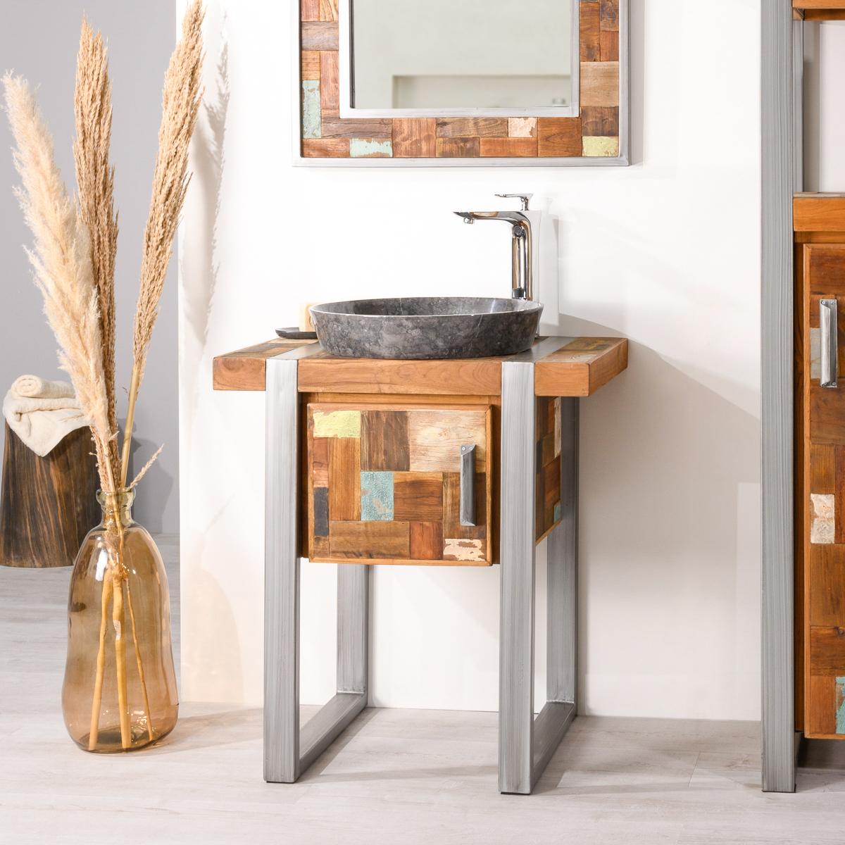 Salle De Bain Industrielle meuble de salle de bain factory teck métal 70 cm