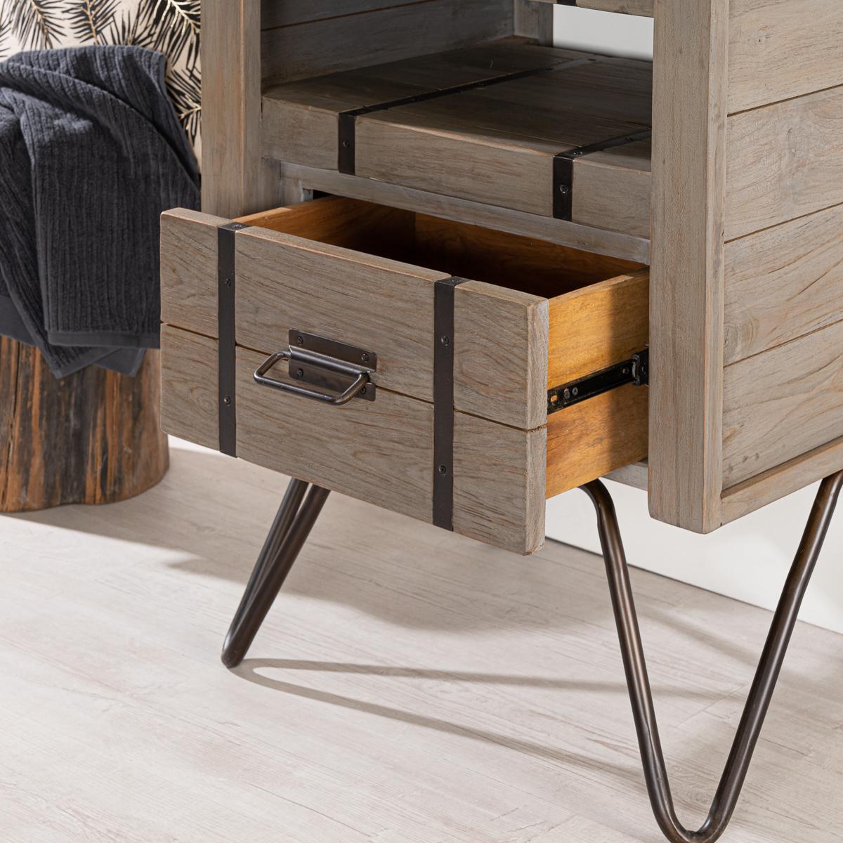 meuble de salle de bain loft en mindi et m tal 60 cm gris. Black Bedroom Furniture Sets. Home Design Ideas
