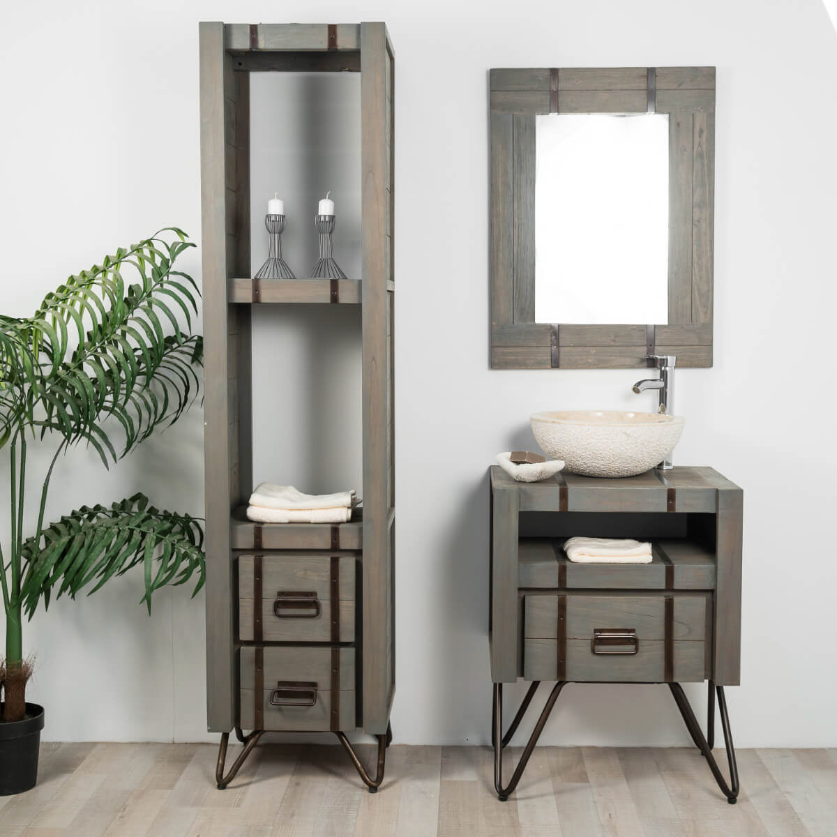 meuble de salle de bain loft en mindi et m tal 60 cm gris. Black Bedroom Furniture Sets. Home Design Ideas