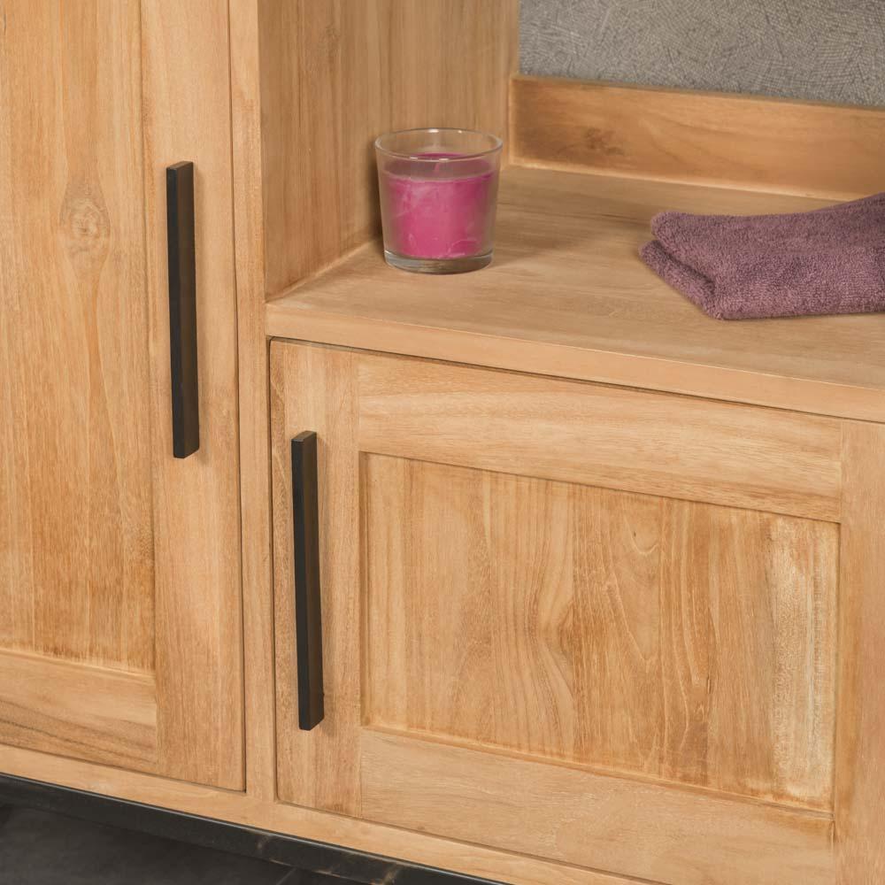 Meuble salle de bain meuble double vasque teck pablo 130 cm - Meuble salle de bain en promo ...