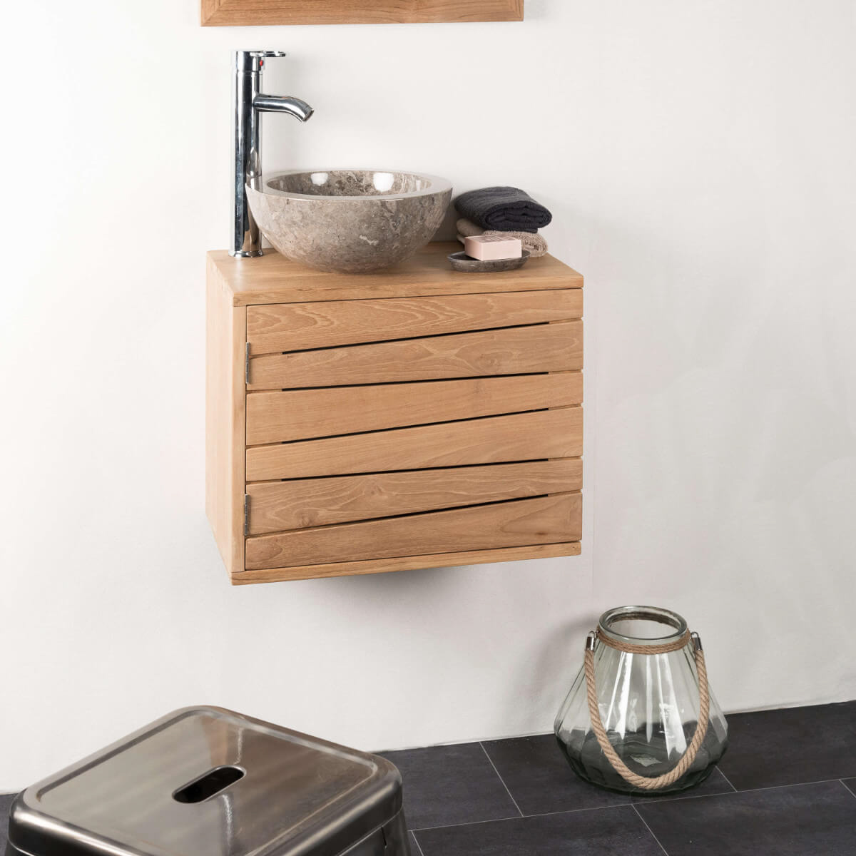Meuble sous vasque simple vasque suspendu en bois teck for Meuble porte gobelet