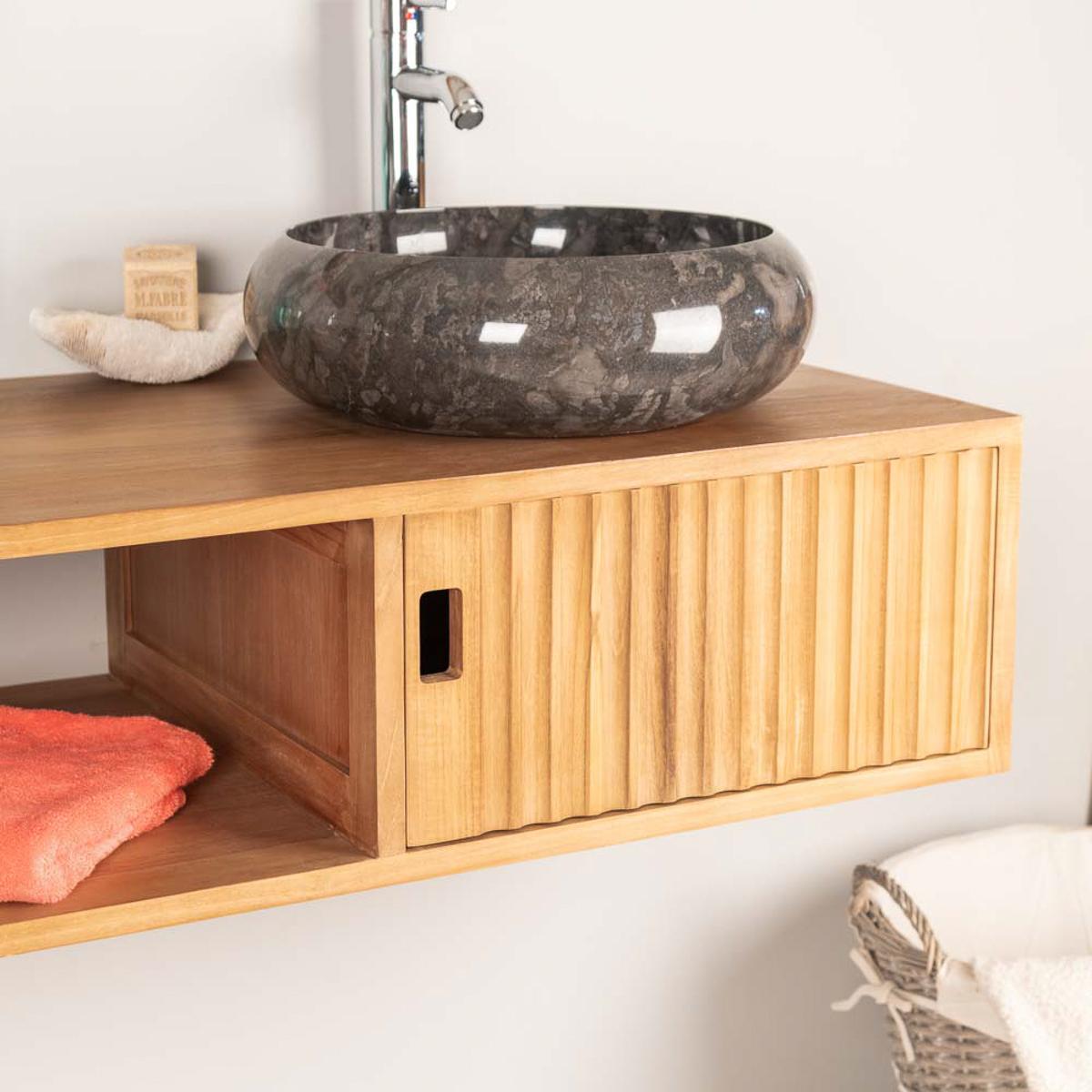 Vasque Salle De Bain A Suspendre meuble de salle de bain suspendu double vasque en teck mya 145 cm