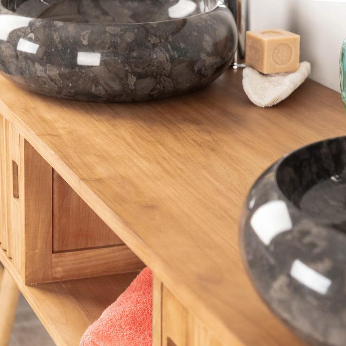meuble de salle de bain suspendu double vasque en teck mya. Black Bedroom Furniture Sets. Home Design Ideas