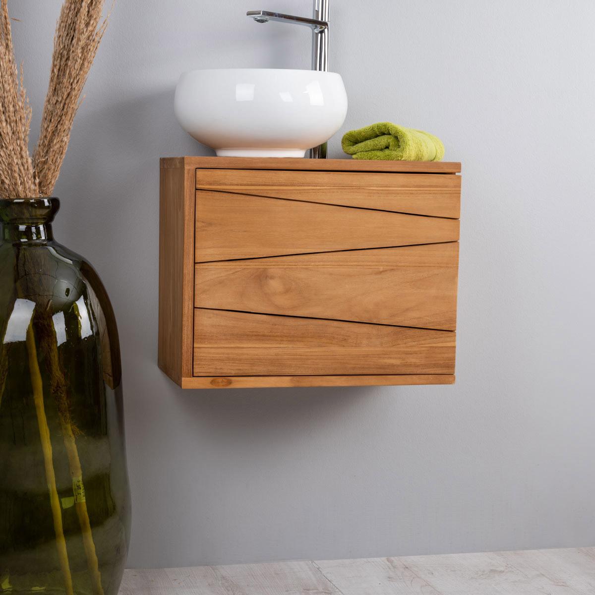 meuble sous vasque simple vasque suspendu en bois teck massif cosy rectangle naturel l. Black Bedroom Furniture Sets. Home Design Ideas