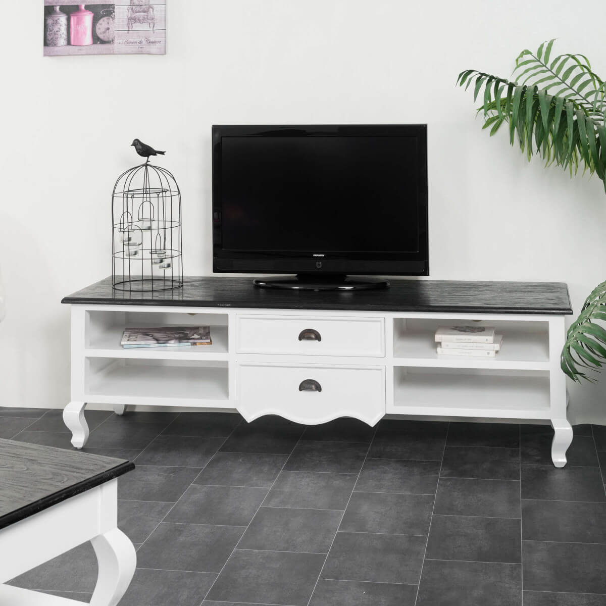 Meuble Tv Baroque Meuble Tv Acajou Blanc Rectangle Idao 170 Cm # Table Basse Pour Televiseur