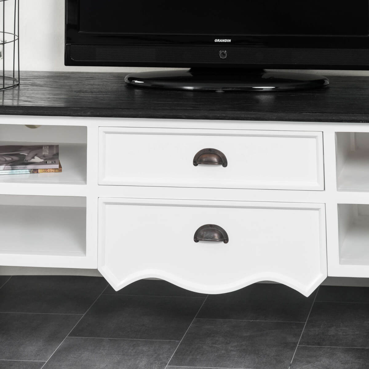 Meuble Tv Baroque Meuble Tv Acajou Blanc Rectangle Idao 170 Cm # Meuble Tv Createur