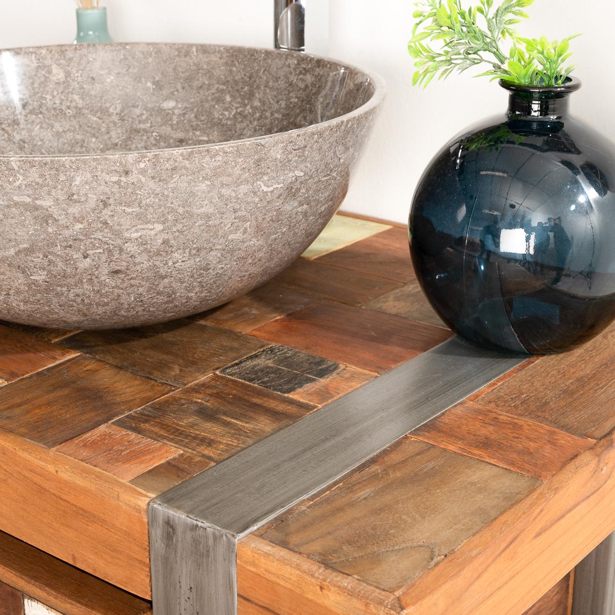 meuble sous vasque double vasque en bois teck massif et acier bross factory l 140 cm. Black Bedroom Furniture Sets. Home Design Ideas