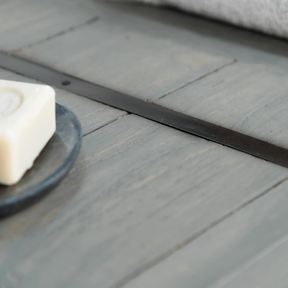 Meuble sous vasque double vasque en bois mindi massif for Meuble salle de bain gris bois