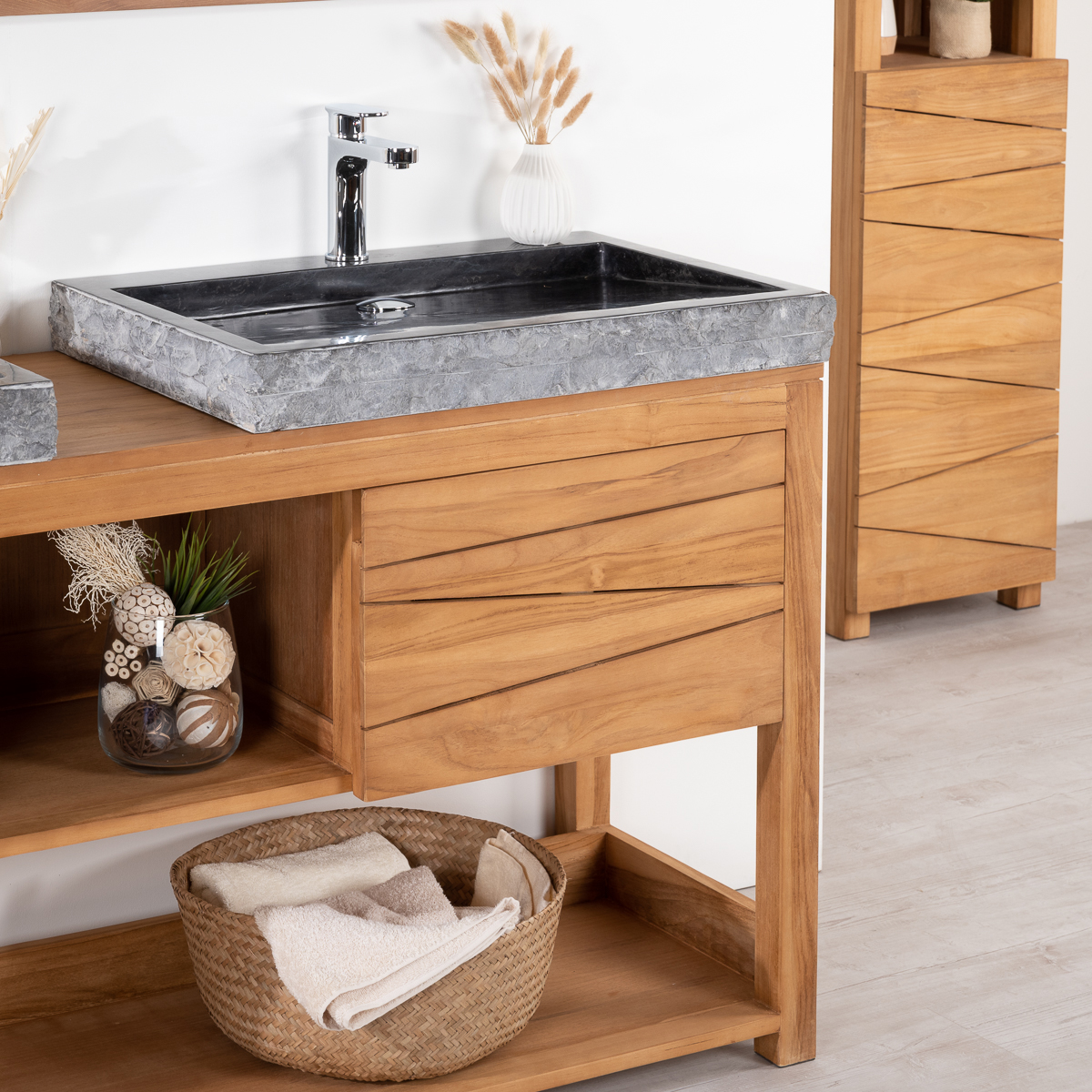 meuble sous vasque double vasque en bois teck massif 2 vasques en marbre cosy naturel. Black Bedroom Furniture Sets. Home Design Ideas
