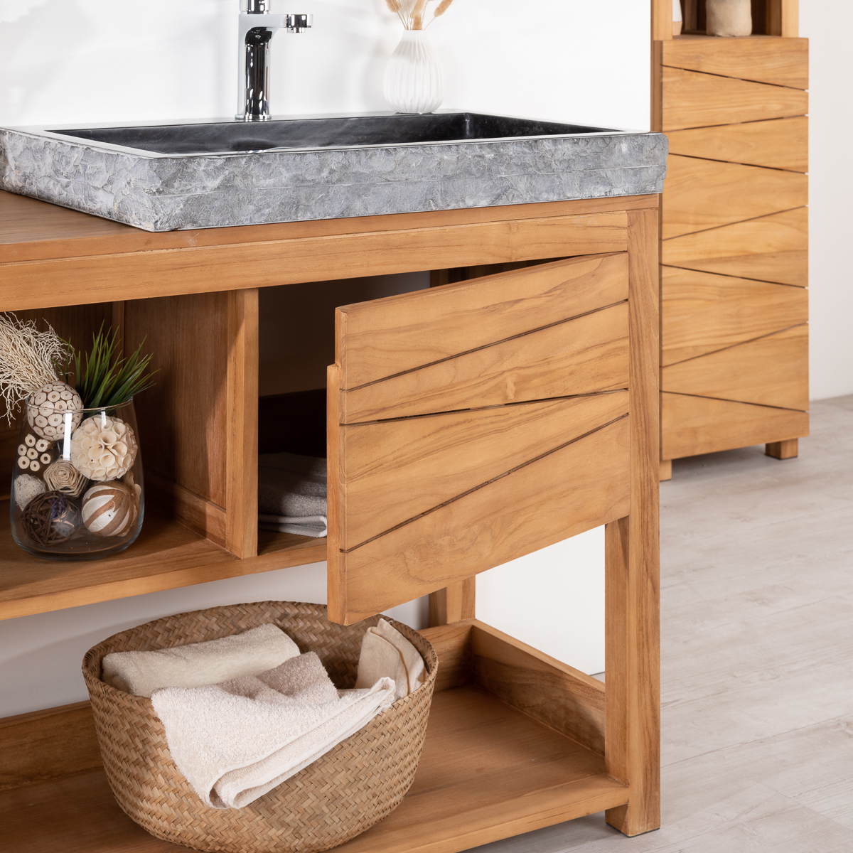 meuble sous vasque double vasque en bois teck massif 2 vasques en marbre cosy naturel. Black Bedroom Furniture Sets. Home Design Ideas