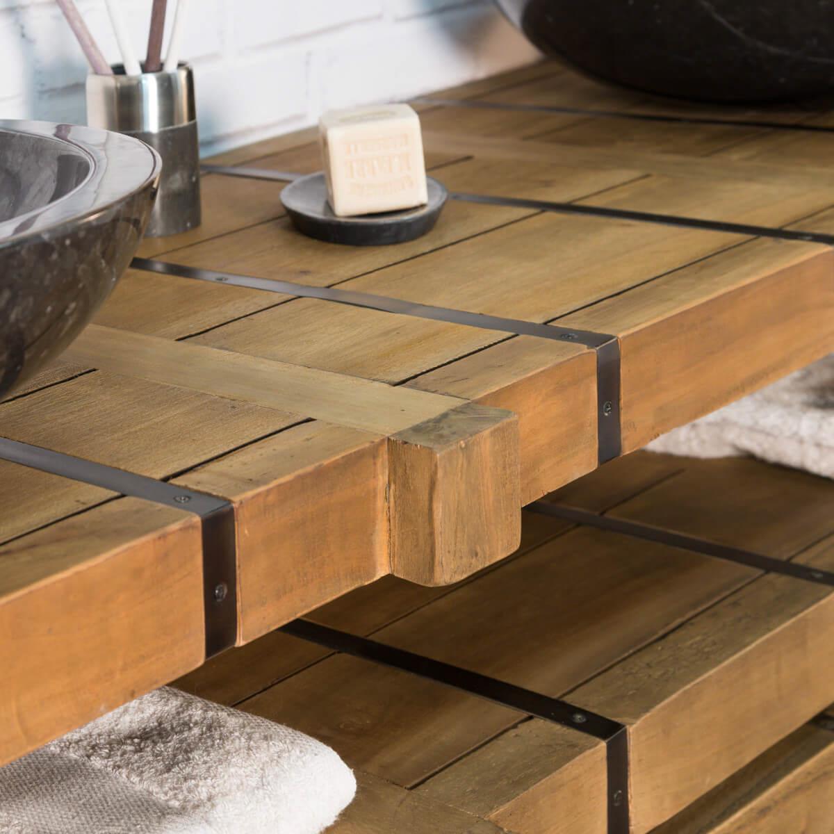 Meuble sous vasque double vasque en bois mindi massif m tal loft naturel l 160 cm Salle de bain rustique industriel