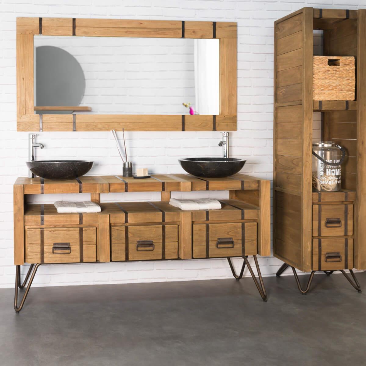 meuble sous vasque double vasque en bois mindi massif m tal loft naturel l 160 cm. Black Bedroom Furniture Sets. Home Design Ideas