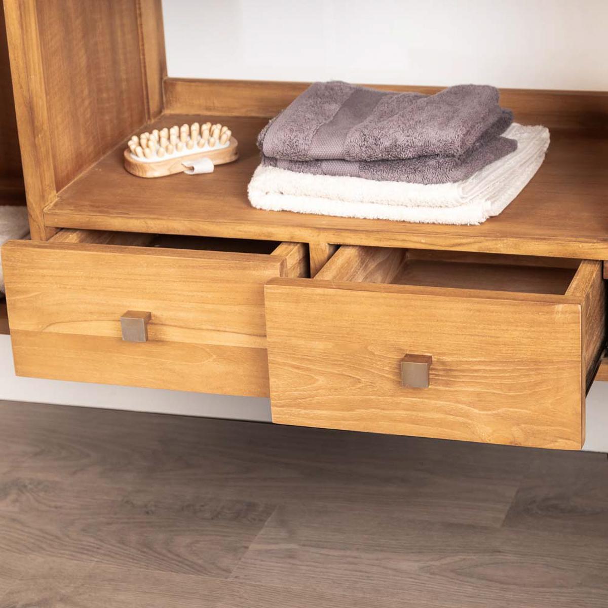 meuble salle de bain meuble double vasque teck thea 165 cm. Black Bedroom Furniture Sets. Home Design Ideas