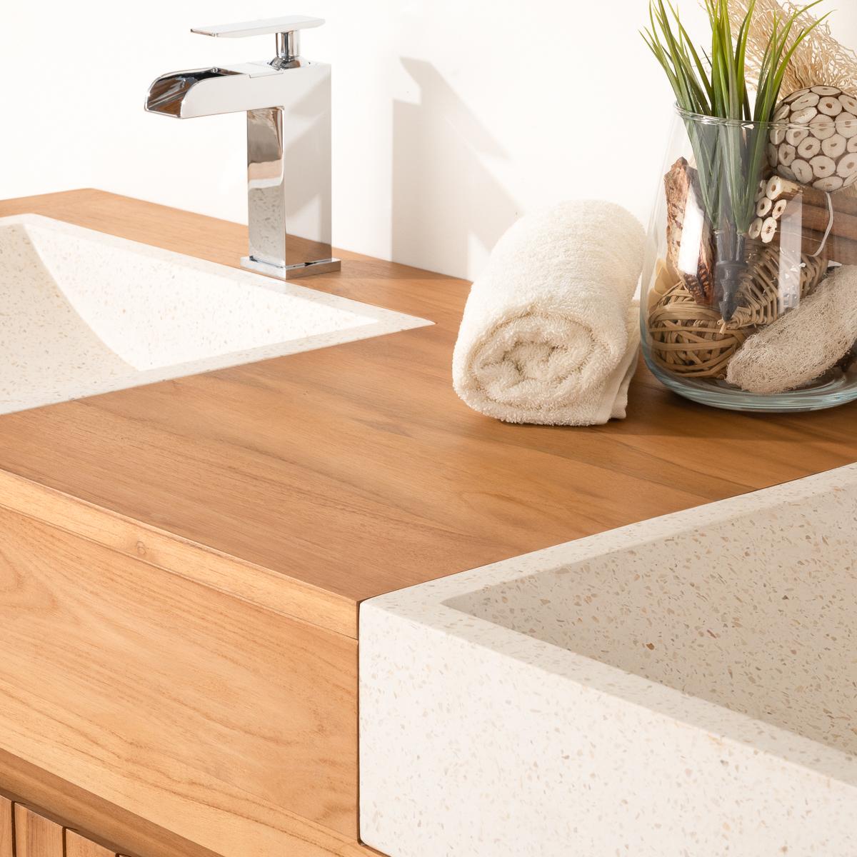 Accessoire Salle De Bain Terrazzo ~ meuble sous vasque double vasque en bois teck massif 2 vasque