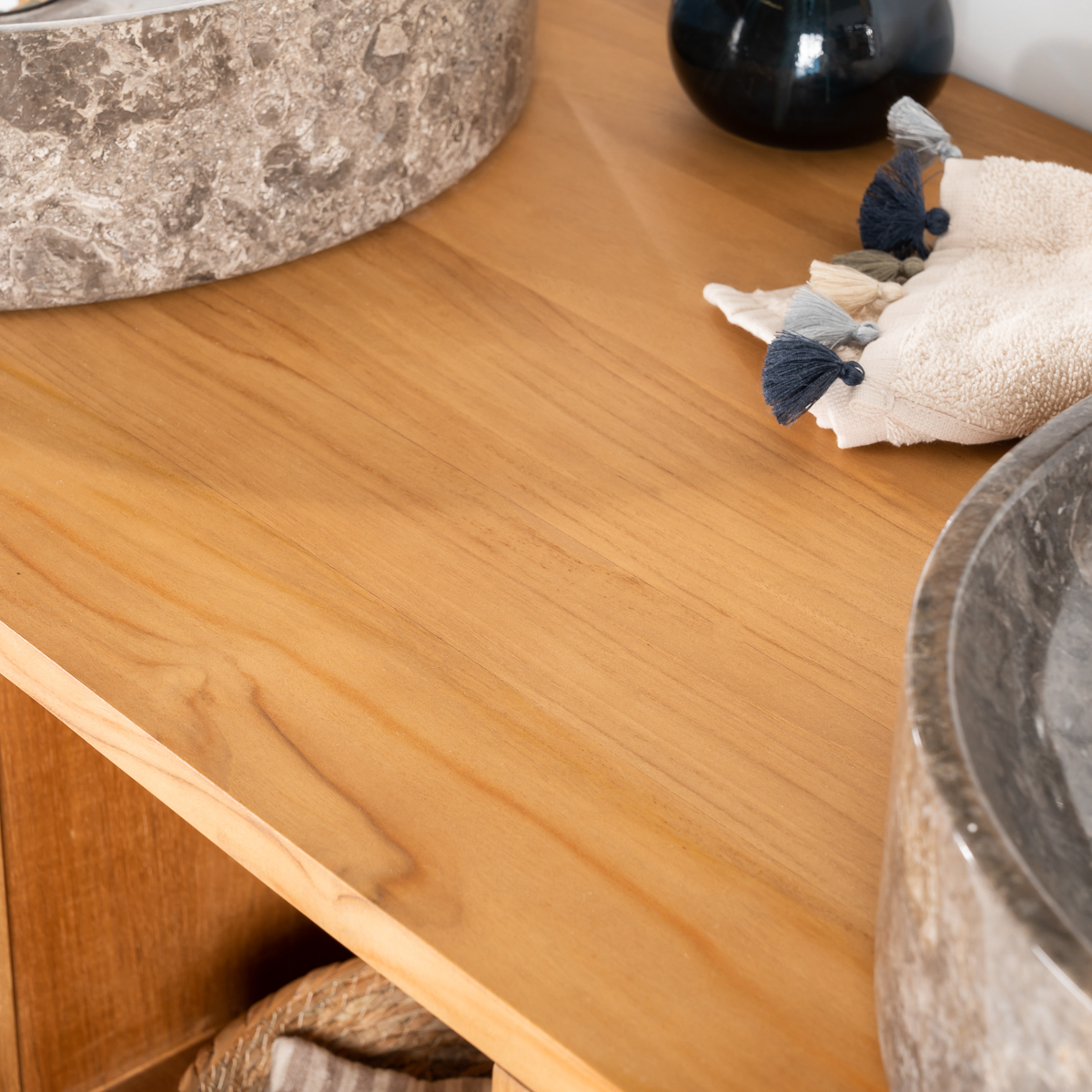 meuble salle de bain meuble double vasque teck thea 130 cm. Black Bedroom Furniture Sets. Home Design Ideas