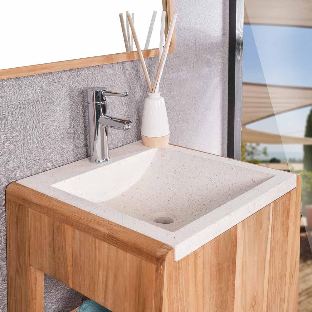 meuble salle de bain meuble en teck avec vasque terrazzo. Black Bedroom Furniture Sets. Home Design Ideas