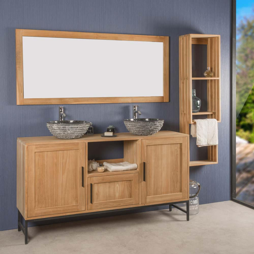 Meuble salle de bain double PABLO en teck 160 cm