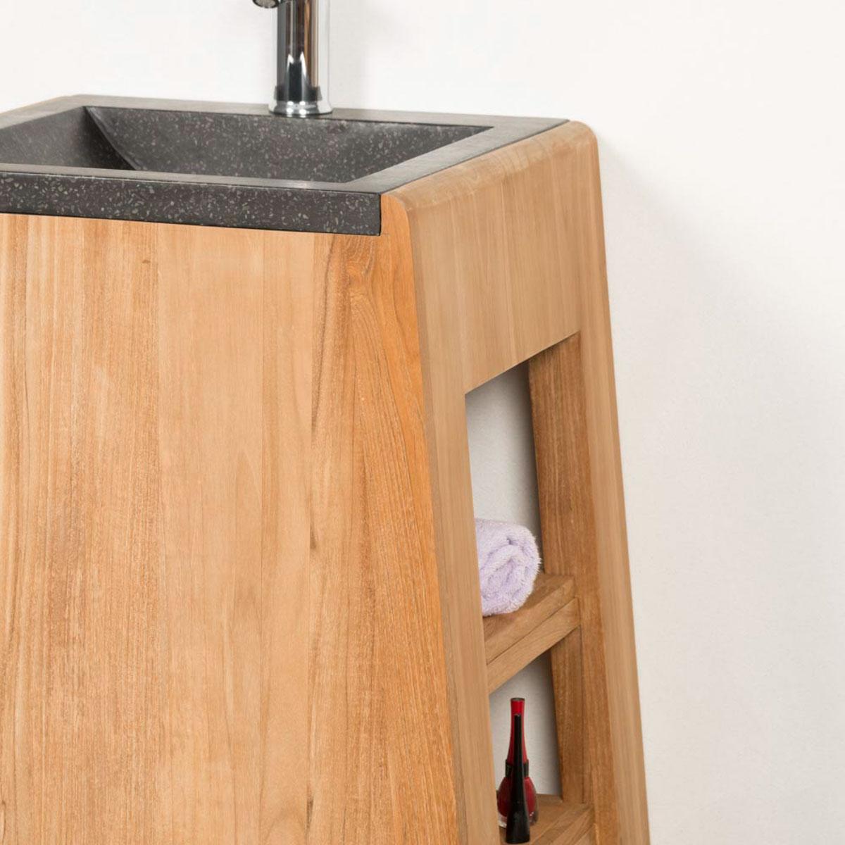 meuble salle de bain teck avec vasque terrazzo tipi 65 cm. Black Bedroom Furniture Sets. Home Design Ideas