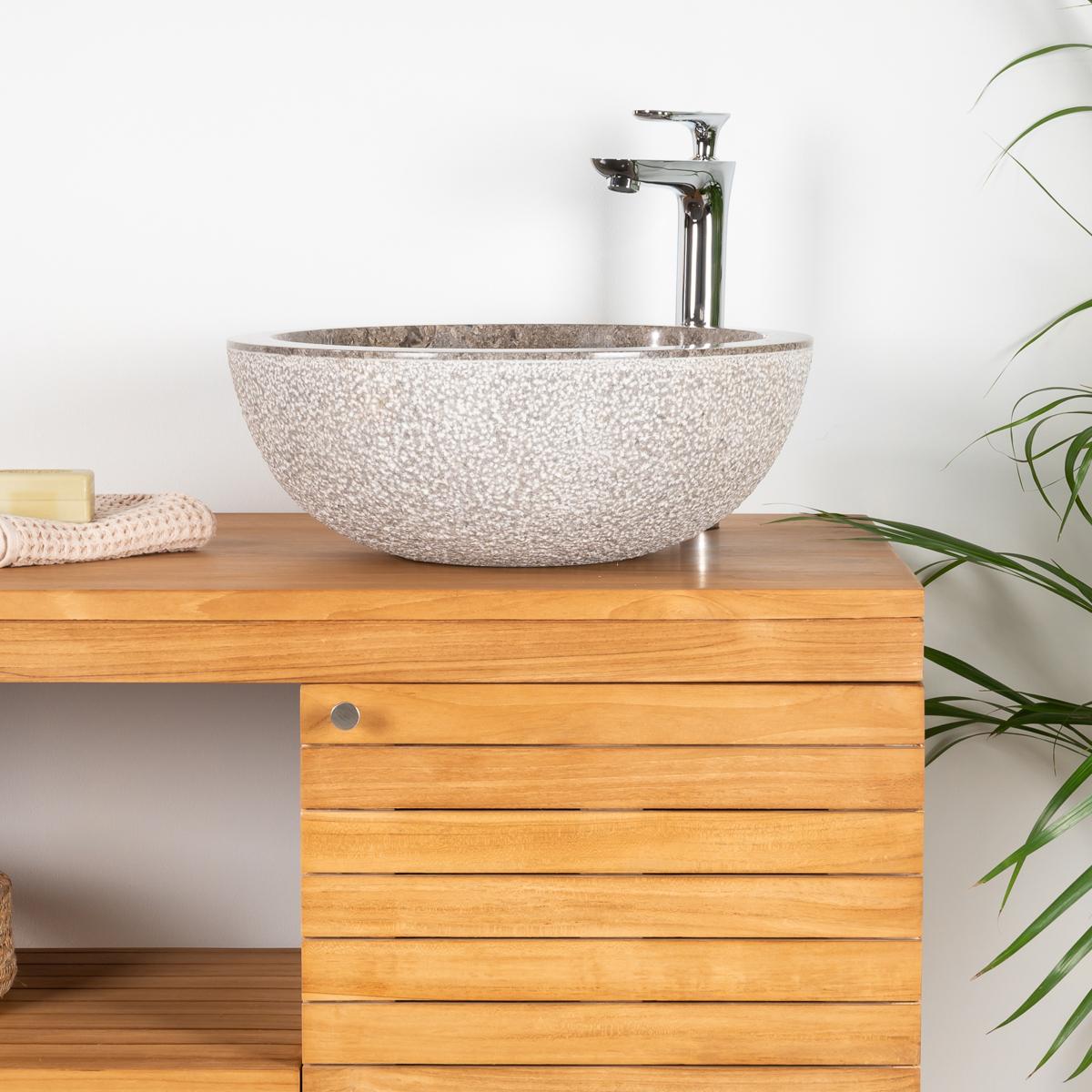 meuble sous vasque simple vasque en bois teck massif courchevel naturel l 100 cm. Black Bedroom Furniture Sets. Home Design Ideas