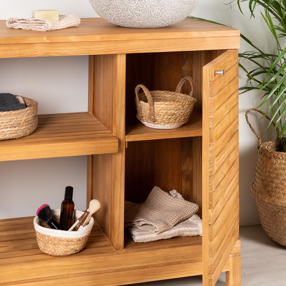 Meuble sous vasque simple vasque en bois teck massif for Meuble salle de bain 100