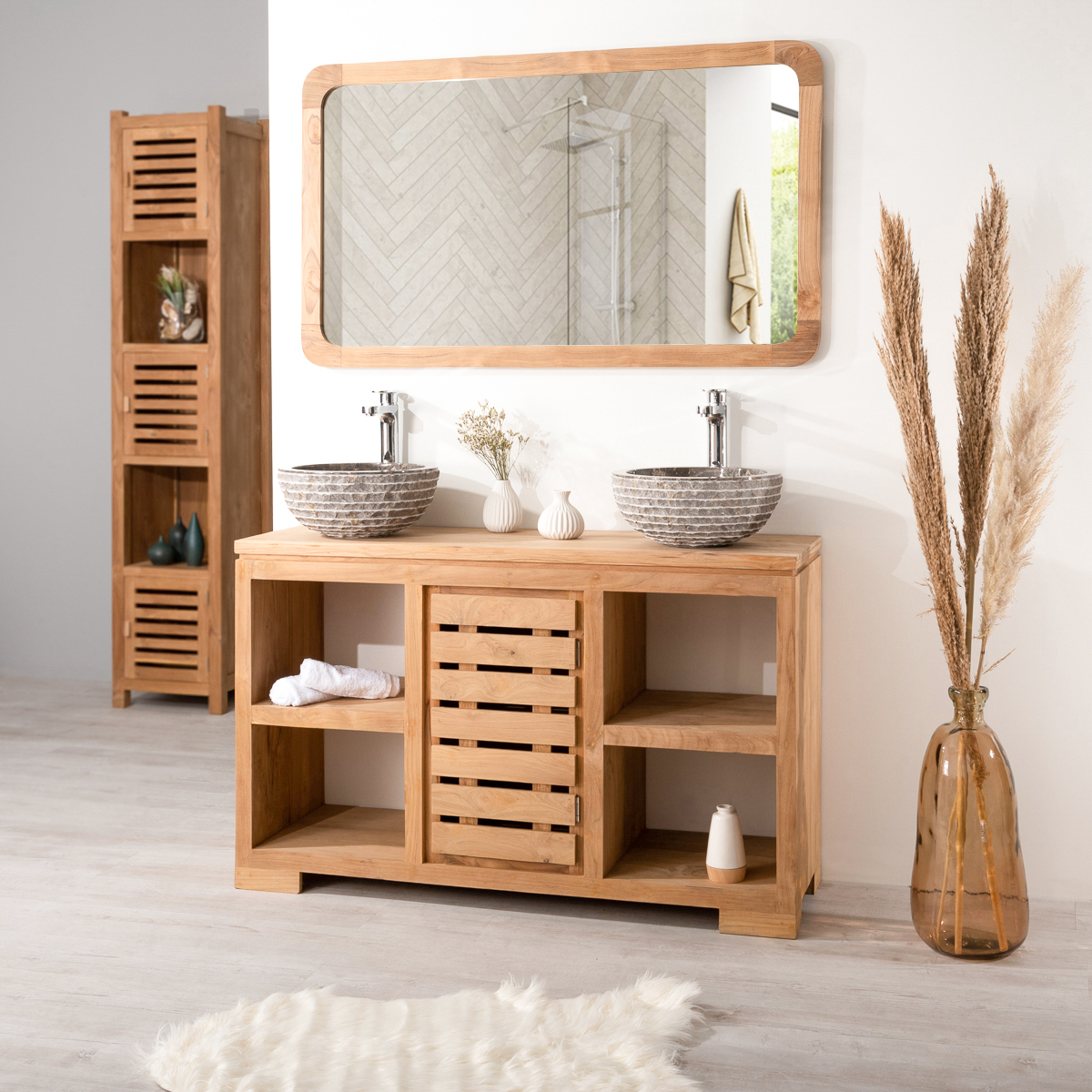 meuble salle de bain en teck massif 120 cm. Black Bedroom Furniture Sets. Home Design Ideas