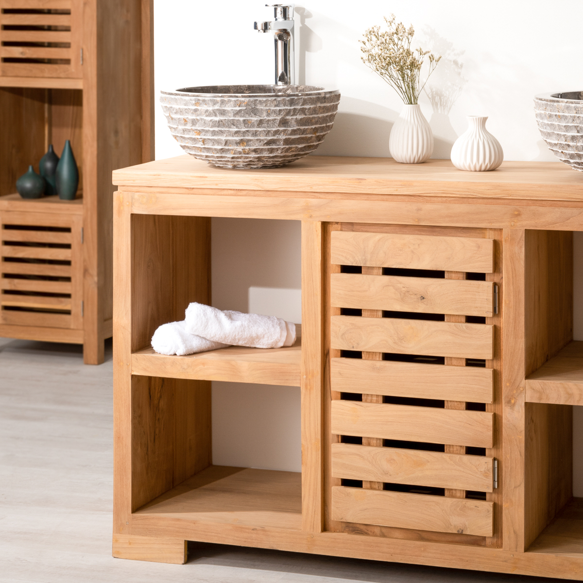 meuble sous vasque double vasque en bois teck massif. Black Bedroom Furniture Sets. Home Design Ideas