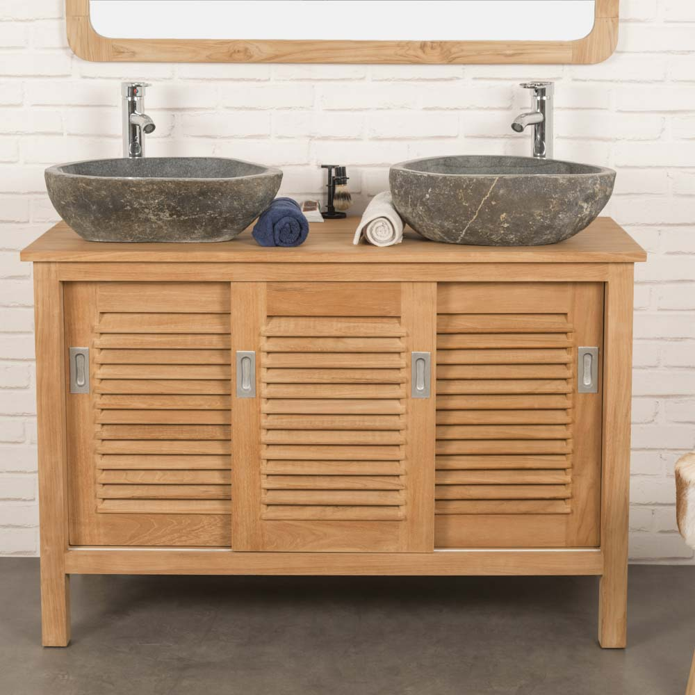 Meuble salle de bain meuble sous vasque teck tempo 120 cm for Meuble salle de bain teck massif