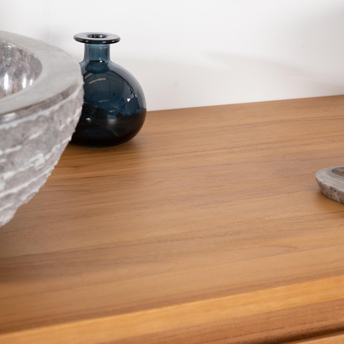 Meuble sous vasque simple vasque meuble salle de bain teck meg ve 140 cm - Meuble salle de bain 140 cm ...