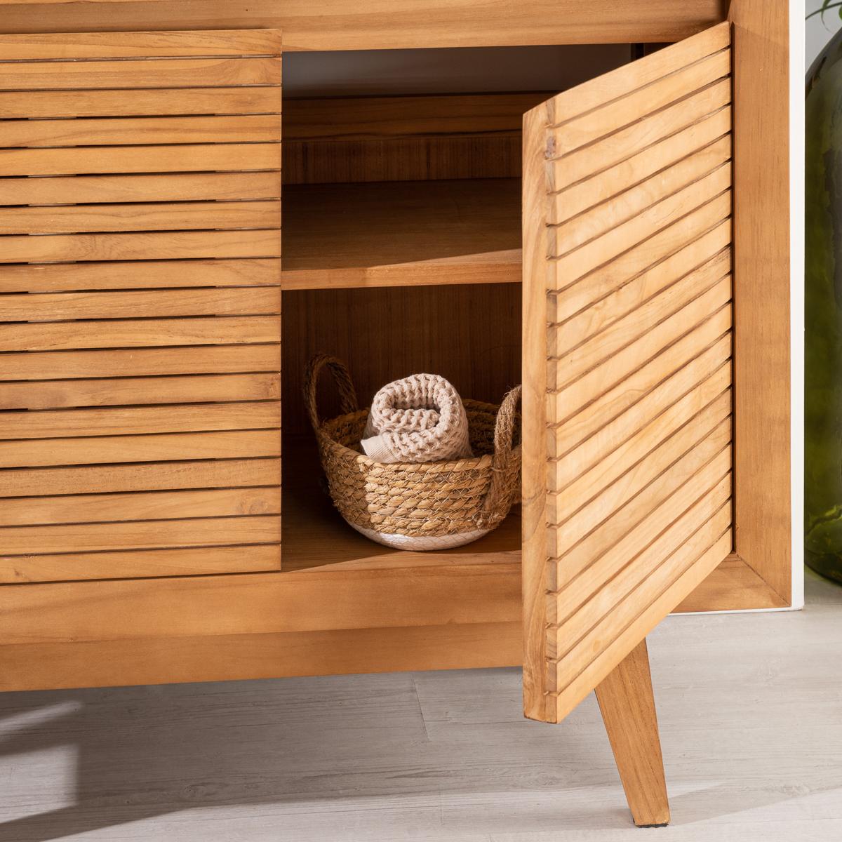 Meuble sous vasque simple vasque en bois teck massif vintage naturel l 90 cm - Meuble sdb ontwerpen ...