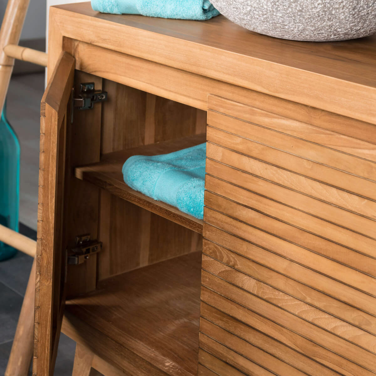 Meuble sous vasque simple vasque en bois teck massif for Meuble salle de bain peu profond