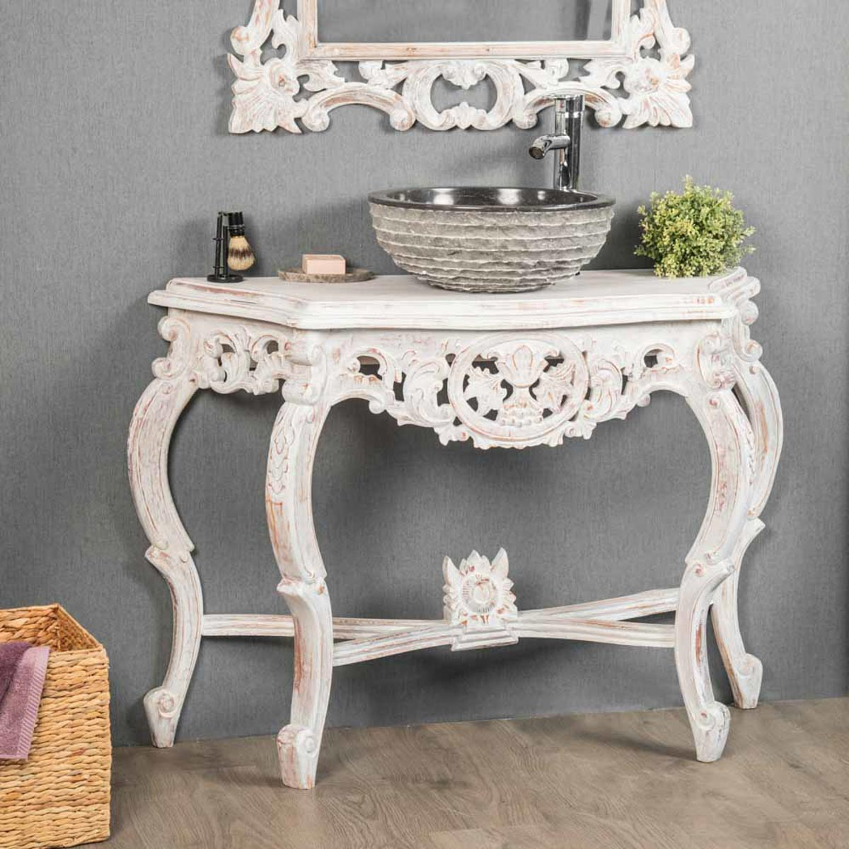meuble sous vasque simple vasque en bois teck massif baroque blanc l 100 cm. Black Bedroom Furniture Sets. Home Design Ideas