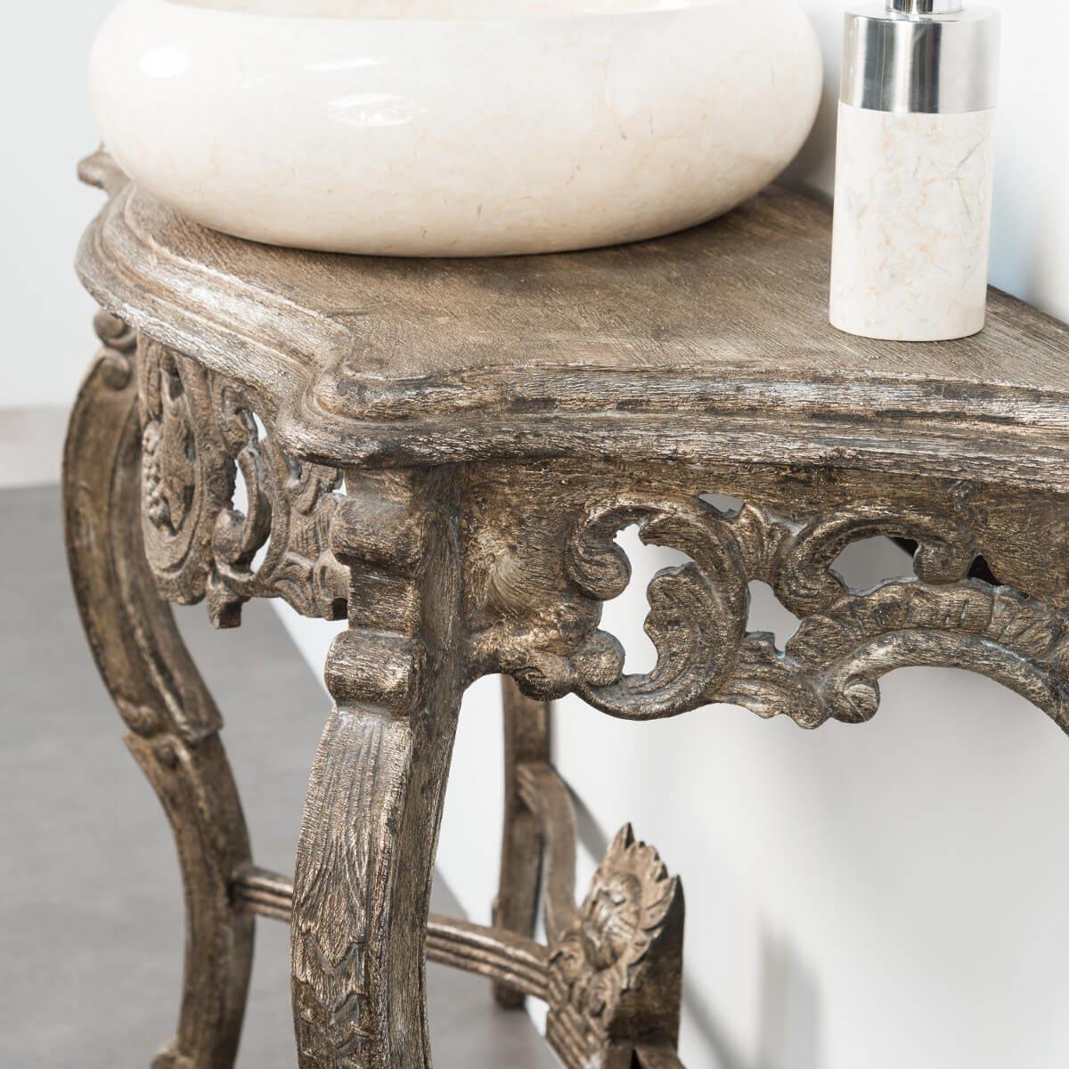 meuble sous vasque simple vasque en bois teck massif baroque bronze l 100 cm. Black Bedroom Furniture Sets. Home Design Ideas