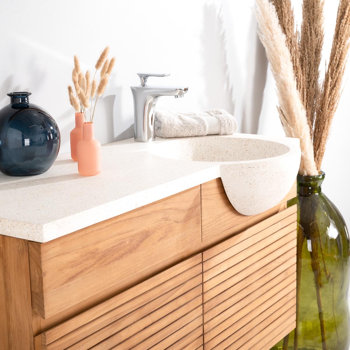meuble salle de bain meuble suspendu teck avec vasque pierre cr me 1 m. Black Bedroom Furniture Sets. Home Design Ideas