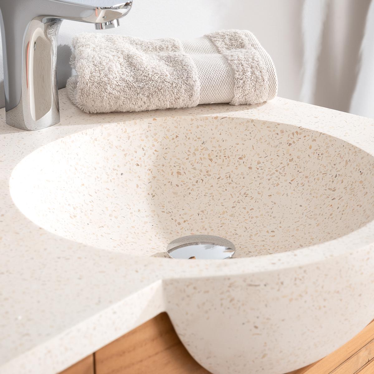 Meuble salle de bain meuble suspendu teck avec vasque for Meuble salle de bain 1 m