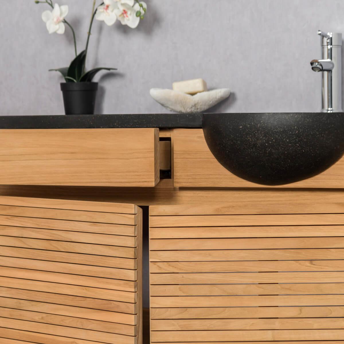 Meuble salle de bain meuble suspendu teck avec vasque - Meuble salle de bain vasque noire ...