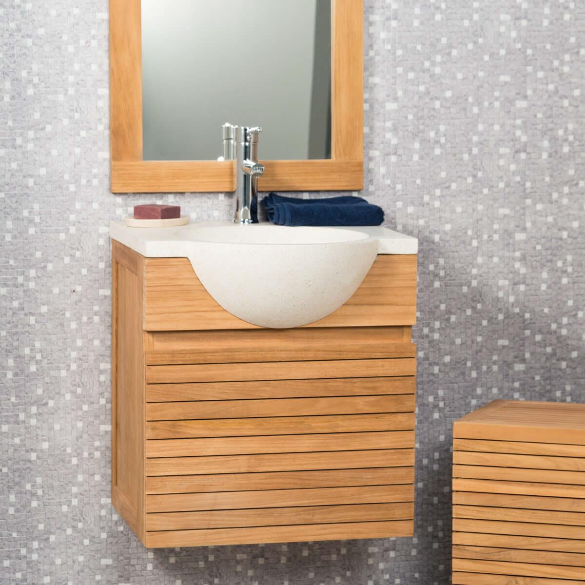 Vasque Salle De Bain A Suspendre meuble salle de bain suspendu avec vasque teck 50 contemporain crème