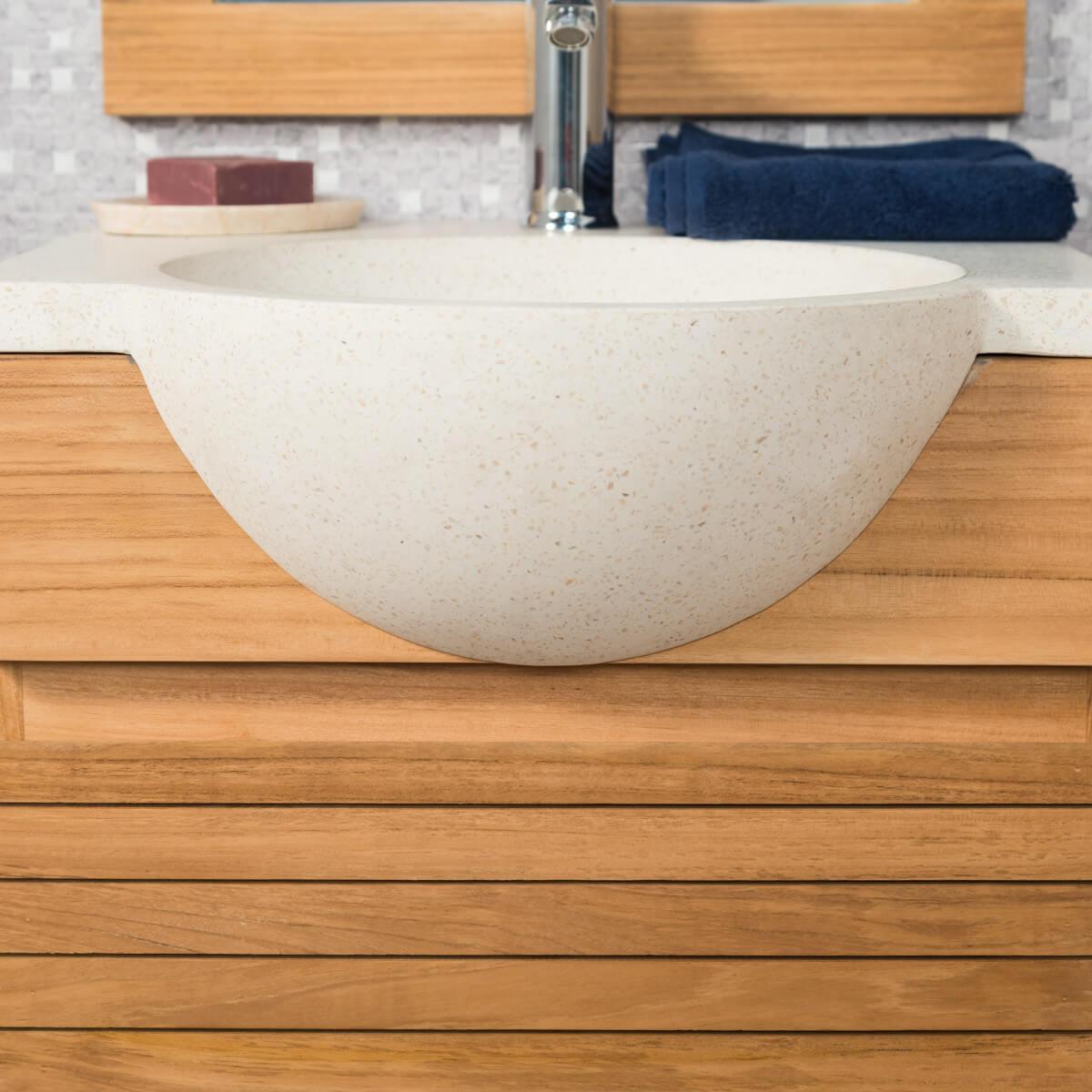 Meuble salle de bain suspendu meuble sous vasque teck - Meuble salle de bain 50 ...