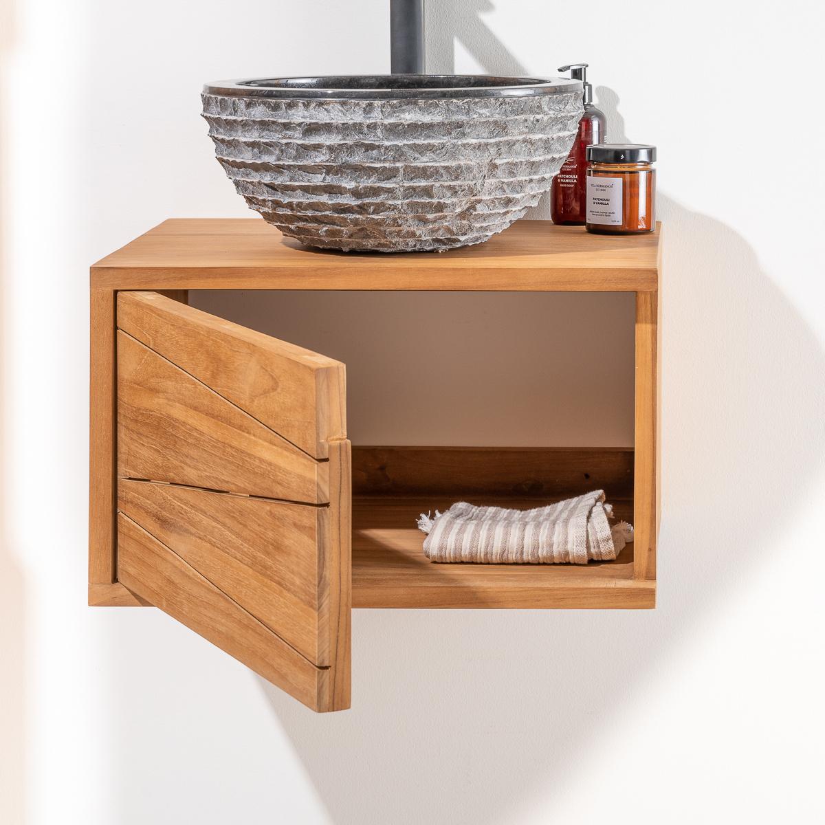 meuble salle de bain meuble suspendu teck cosy rectangle naturel 50 cm. Black Bedroom Furniture Sets. Home Design Ideas