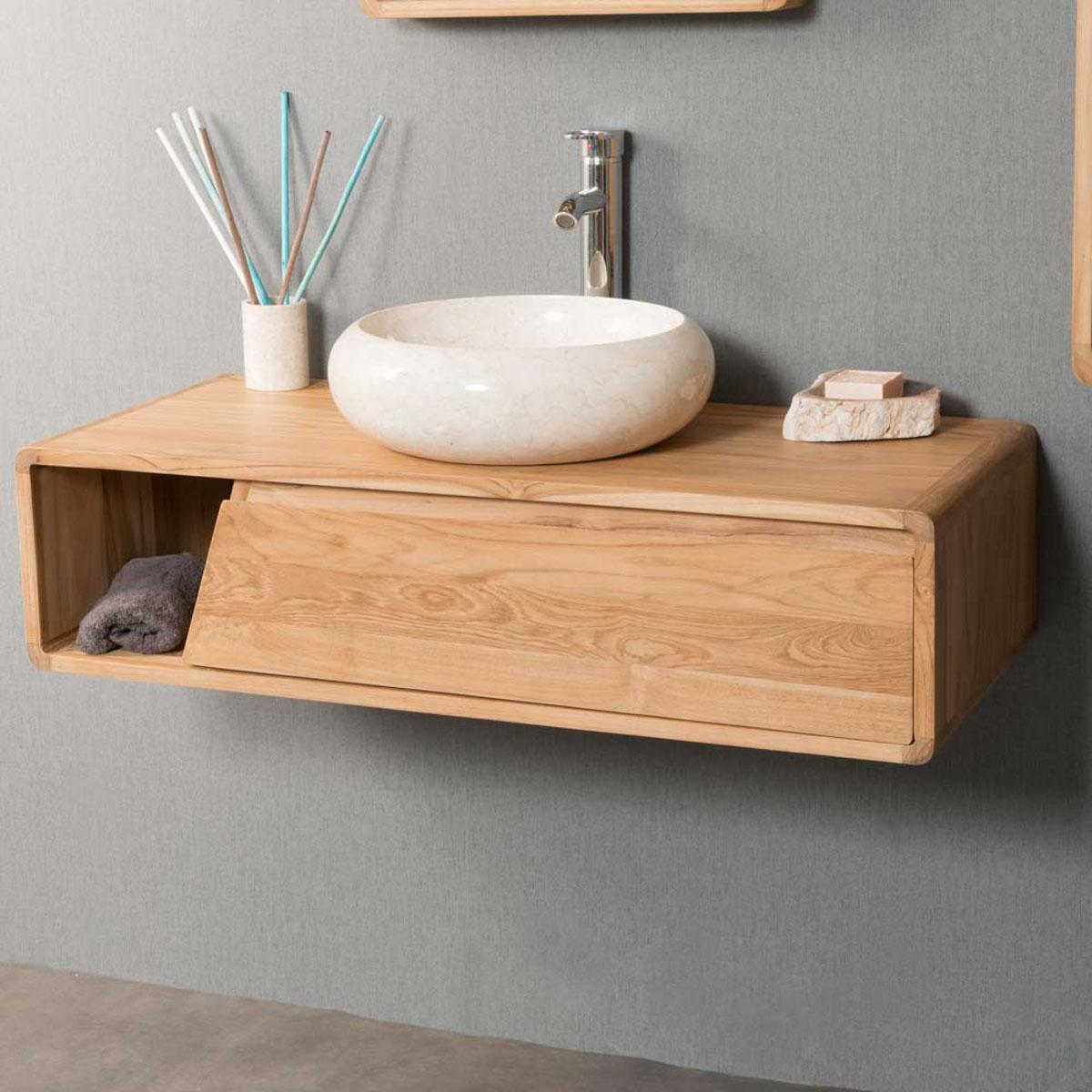 meuble salle de bain suspendu teck milo 100. Black Bedroom Furniture Sets. Home Design Ideas