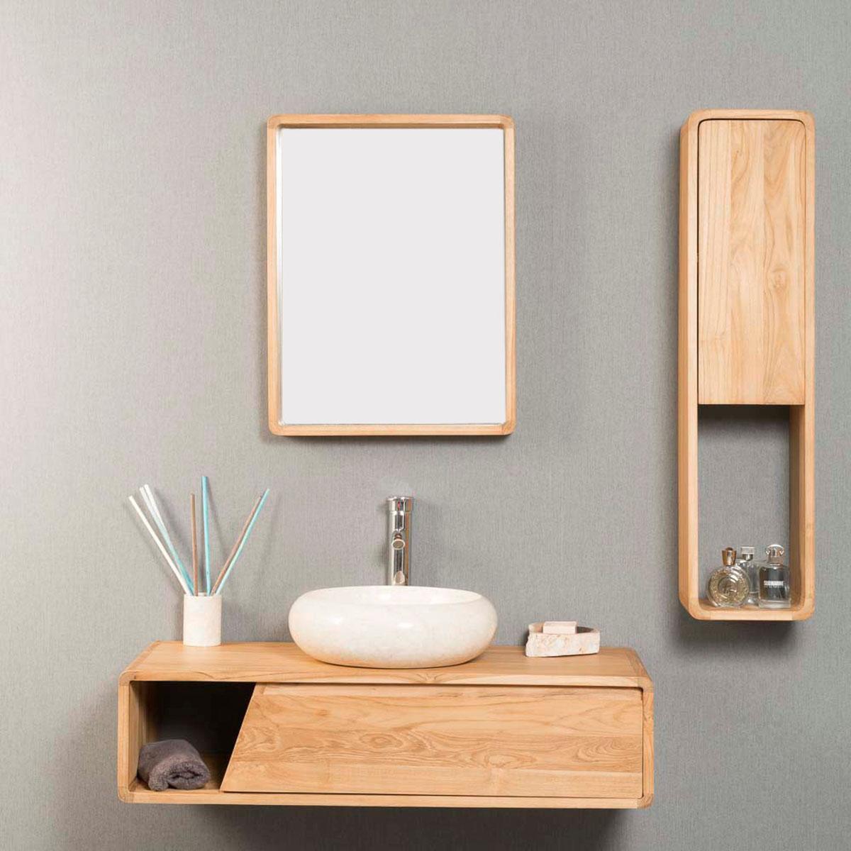 Meuble salle de bain meuble suspendu en teck milo 100 cm for Meuble salle de bain 100